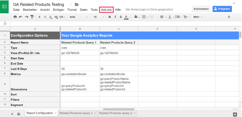 Related Products Spreadsheet Abfrage