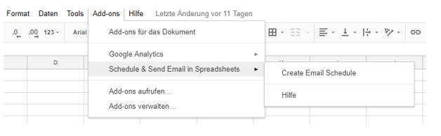 Schedule & Send Email Add On Einstellungen