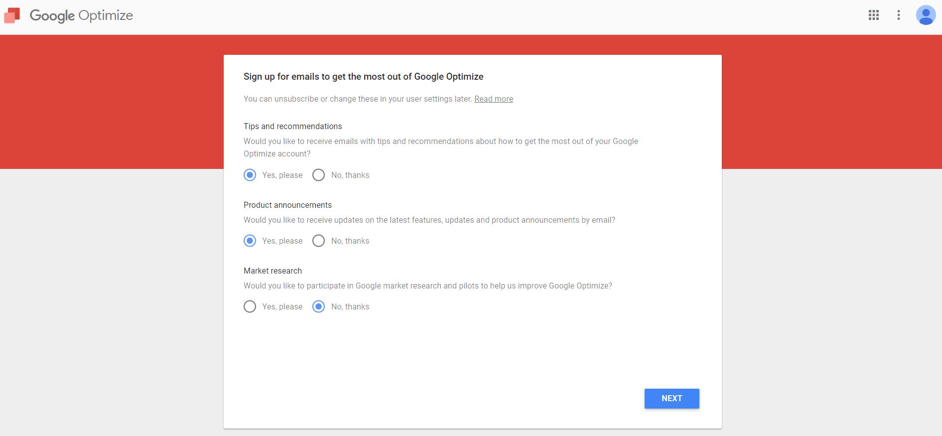 Google Optimize Account Setup: Email Optin
