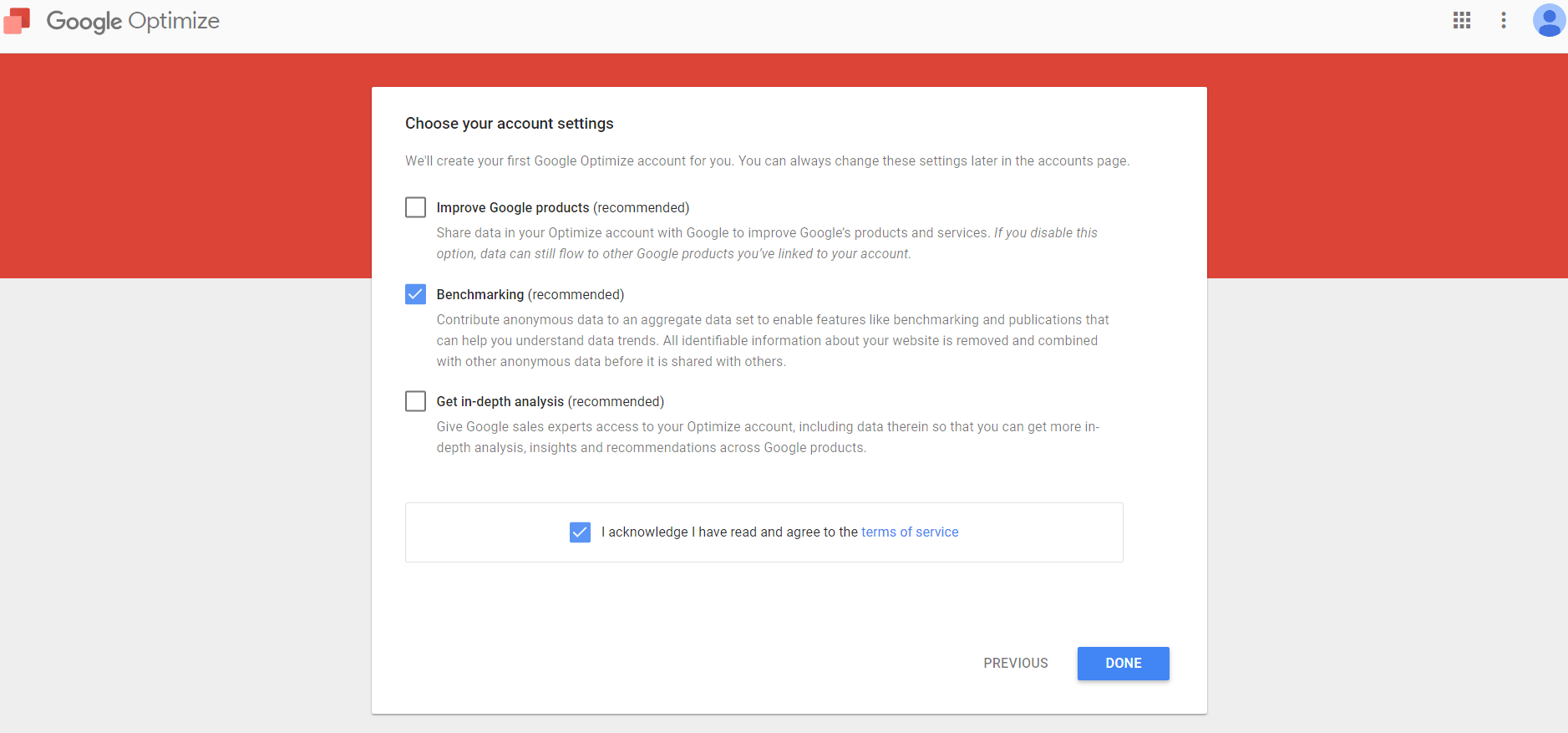 Bild: Google Optimize Account Setup - Account Einstellungen