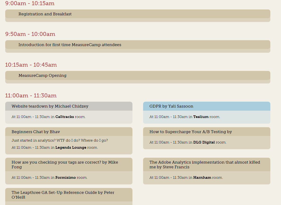 MeasureCamp #11 Schedule