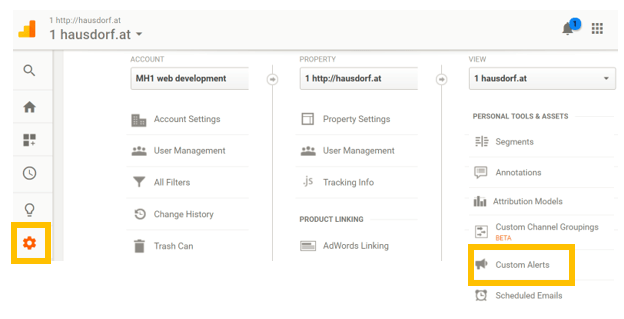 Custom Alert Google Analytics Administration