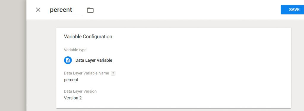GTM Neue Variable percent