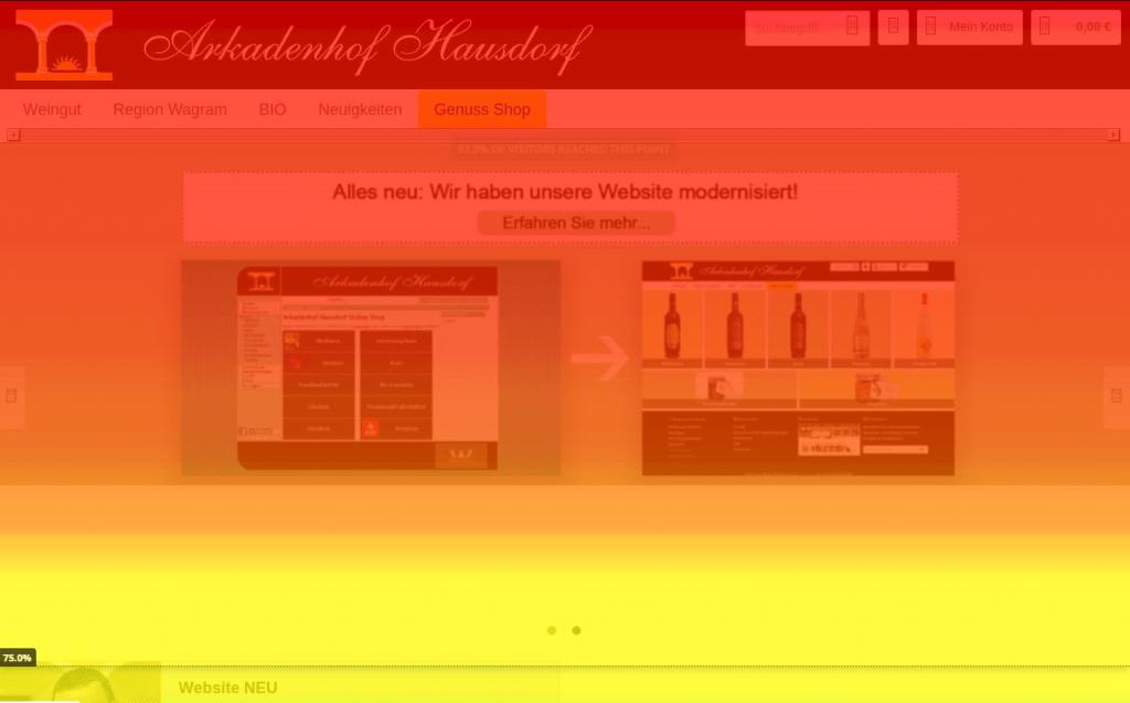 Scrolltracking mit Hotjar auf hausdorf.at