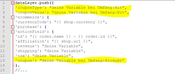 Ecommerce Transaktions Tracking Code - Gutschein