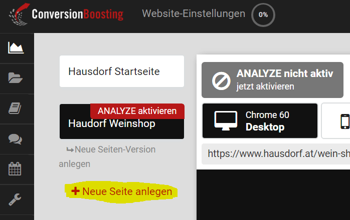 ANALYZE Website Einstellungen