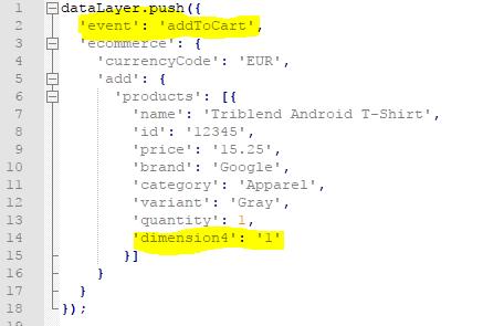 Add-to-Cart Tracking Code erweitert