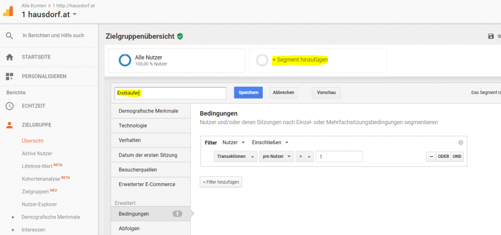 Advanced Google Analytics Segment Erstkäufer
