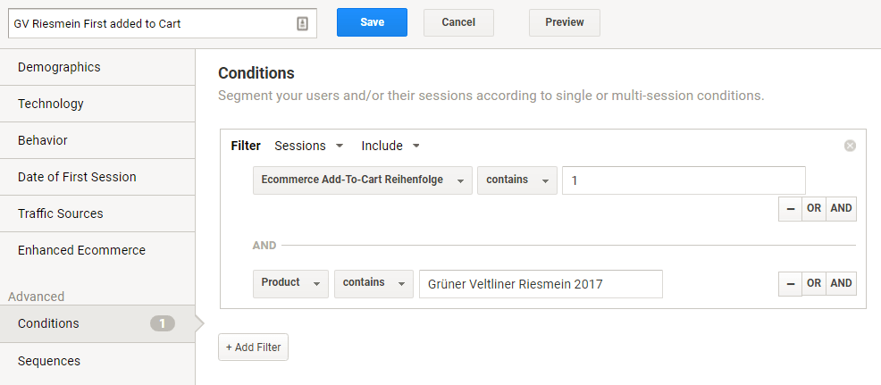 Advanced Segment in Google Analytics