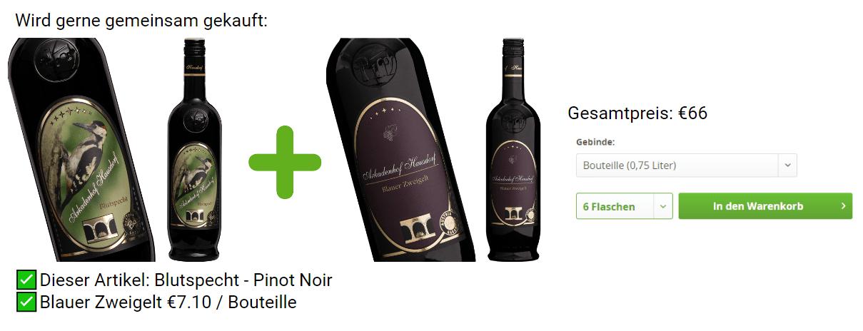 Cross- und Upsell Beispiel Wein