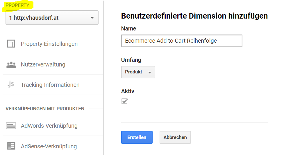 Custom Dimension Add-to-Cart Reihenfolge in Google Analytics