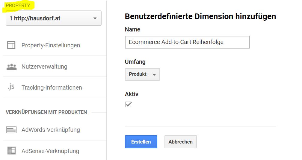 Custom Dimension Add-to-Cart Reihenfolge in Google Analytics