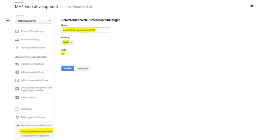 Custom Dimension Kundensegment in Google Analytics