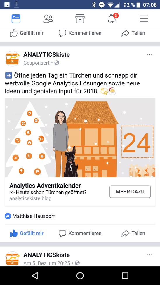 Facebook Werbeanzeige