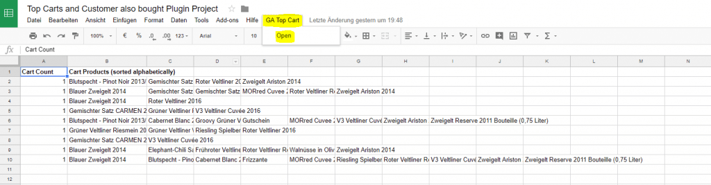 Google Spreadsheet Plugin Related Products and Top Carts