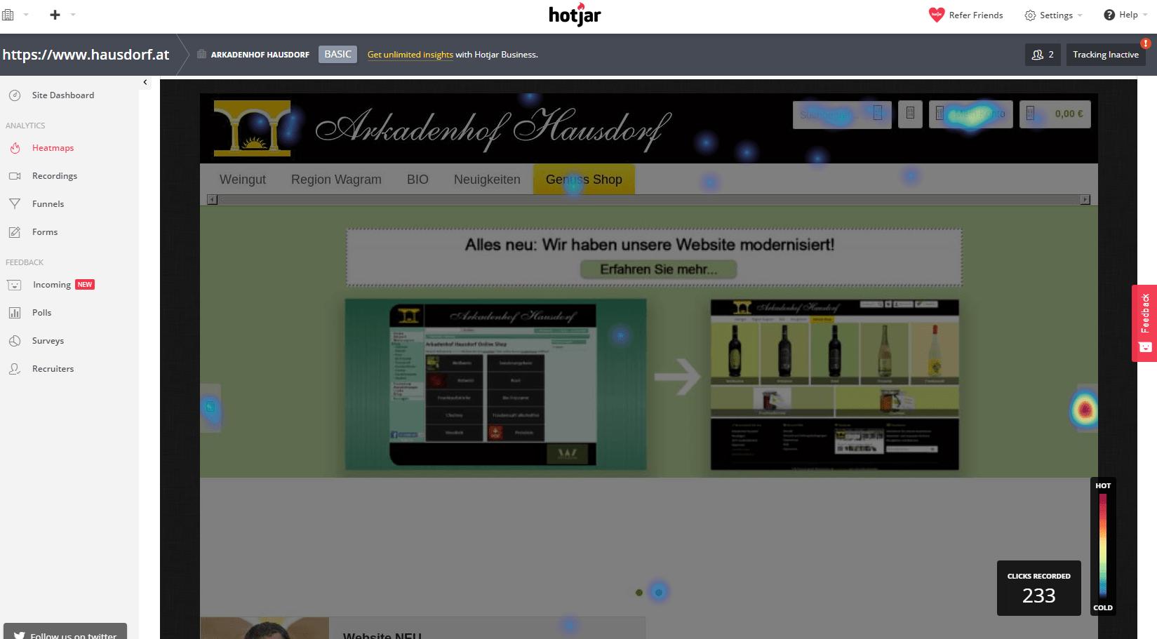 Hotjar Klickmap Startseite