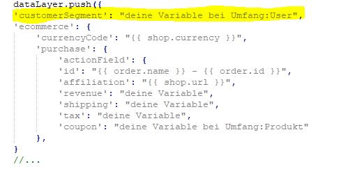 Transaktions Tracking Code erweitert