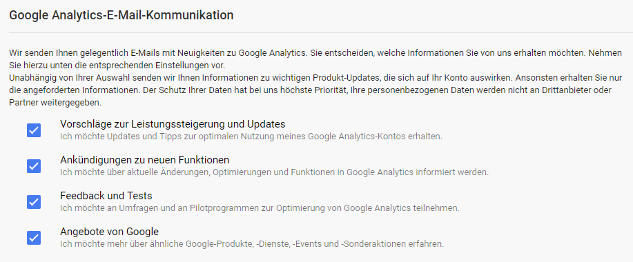 Google Analytics Einstellungen zur Email Kommunikation