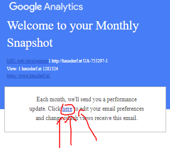 Google Analytics Snapshot Emails deaktivieren