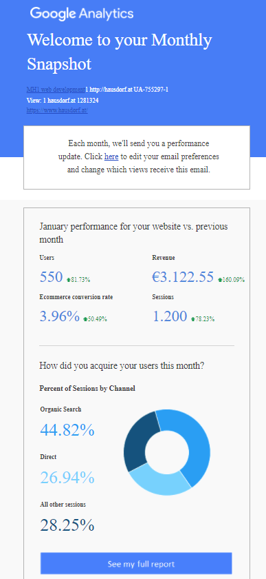 Google Analytics Snapshot Report