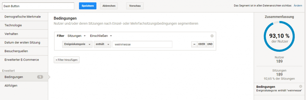 Google Analytics Segment Dash Button
