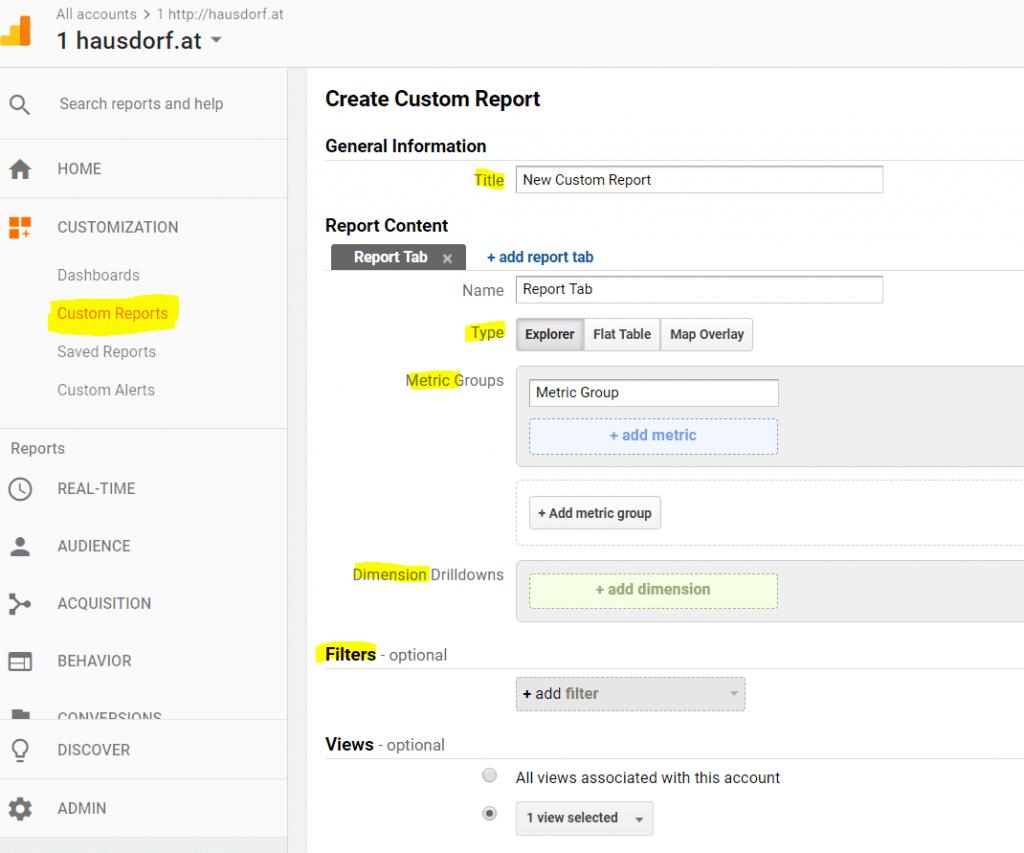 Custom Reports in Google Analytics