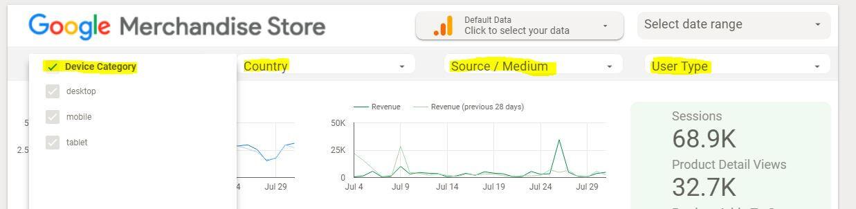 Data Studio Dashboard Filter