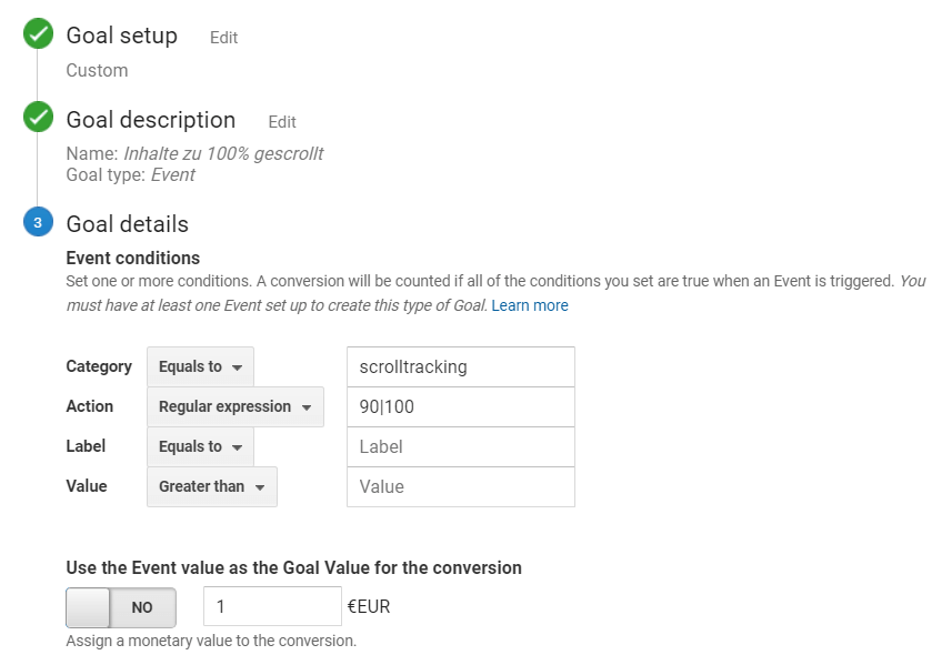 Google Analytics Setup für Scroll-Ziel