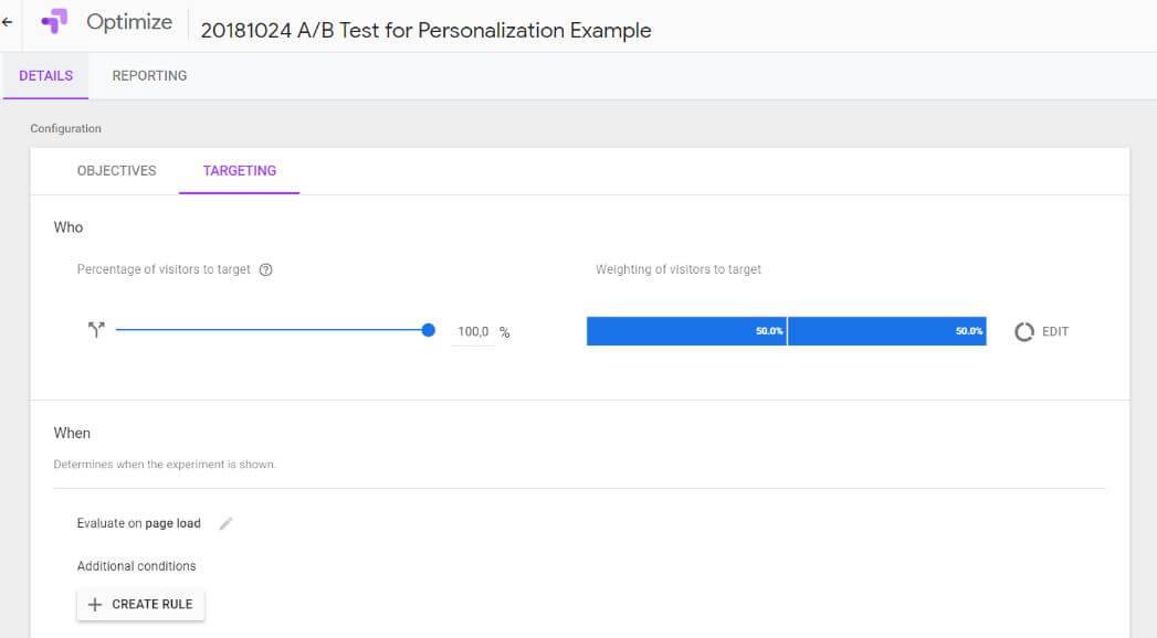 Google Optimize Setup Step 2 - Targeting