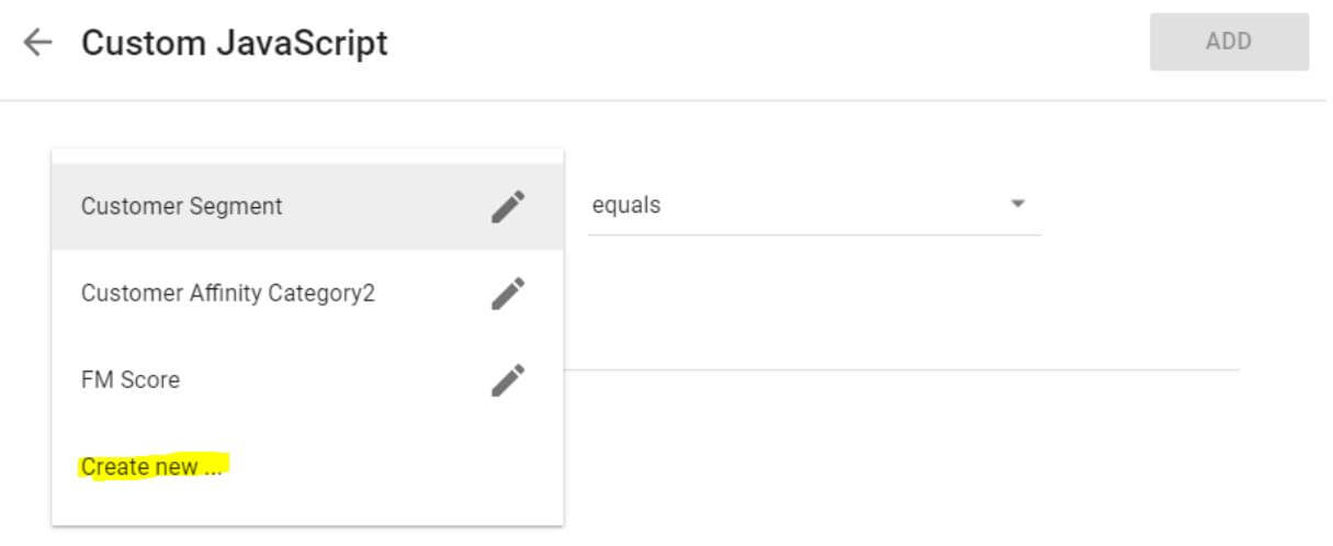 Google Optimize Setup Step 4 - JS Variable