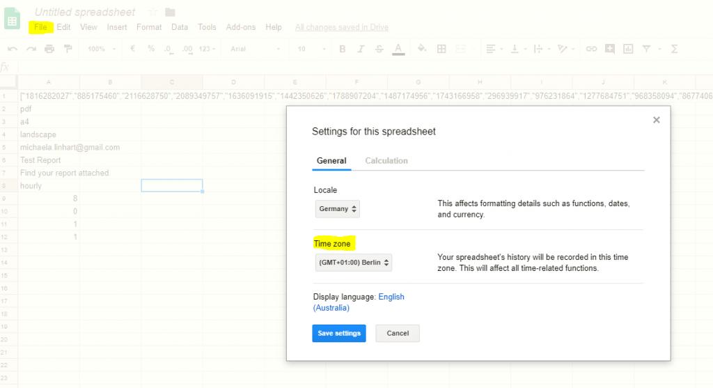 Google Spreadsheet Add-On Timezone Setting