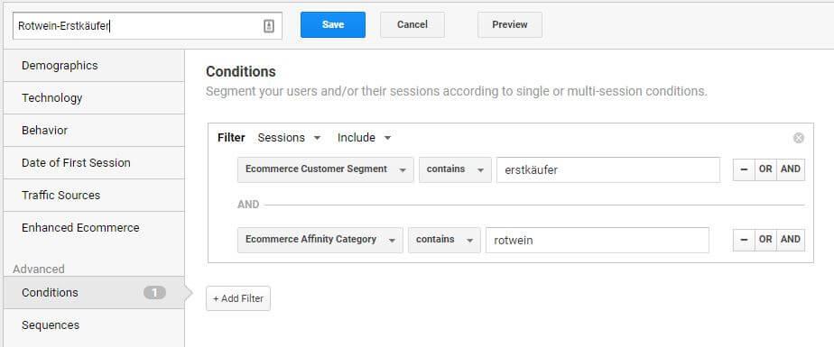 Rotwein Erstkäufer Segment in Google Analytics