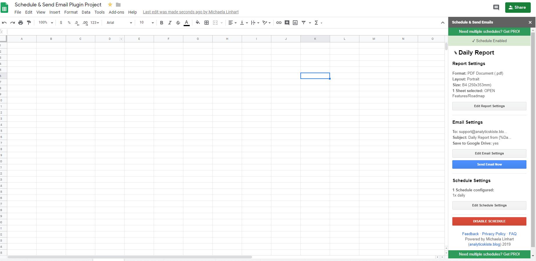 Screenshot: Schedule & Send Email Addon