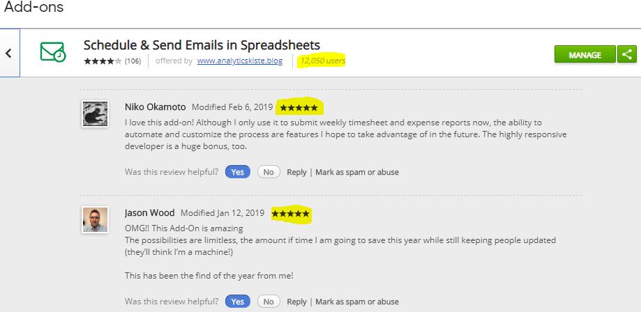 Screenshot: Schedule & Send Email Add On Bewertungen